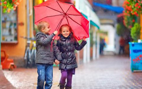 Children in the rain in Galway City